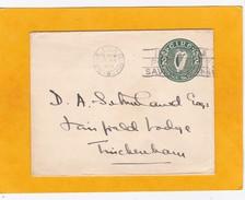 1925 - Enveloppe Entier Postal 2 D  Lyre Vert De Baile Atha Cliath  (Dublin) Vers Twickenham, Angleterre - 1922-37 Irischer Freistaat