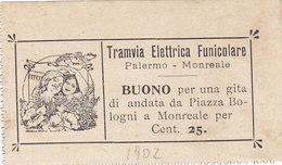 PALERMO_1902 / Esposizione Agricola Siciliana - Tramvia Elettrica Funicolare PA - Monreale _ Buono Per Gita A/r - Tramways