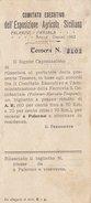 PALERMO_1902 / Esposizione Agricola Siciliana -Tessera Per Riduzione 60% Sul Biglietto Ferroviario PA- MARSALA-TP _ RARA - Spoorwegen