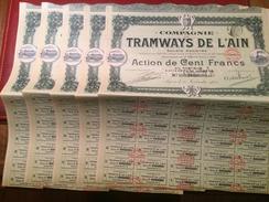 COMPAGNIE  Des  TRAMWAYS   De  L' AIN  ---------  5  Actions  De  100 Frs