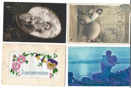Fantaisies Divers - Lot De 100 Cartes - 1er Avril - Noël - Enfants - Femmes - Fleurs - Couples - Pâques - 1 Série - Etc - Cartes Postales