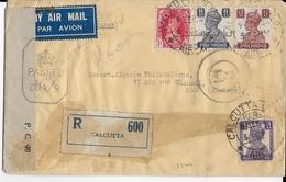 INDIA - 1944 - GEORGE VI Sur ENVELOPPE RECOMMANDEE Par AVION Avec CENSURE De CALCUTTA => ALGER - India (...-1947)