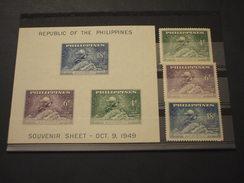 FILIPPINE - 1949 UPU/MONUMENTO  3 VALORI + BF - NUOVI(++) - Filippine