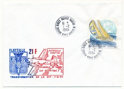 Enveloppe -  Cachet Nimes Garons Marine 1/02/1994 + Transformation De La 21F - Marcophilie (Lettres)
