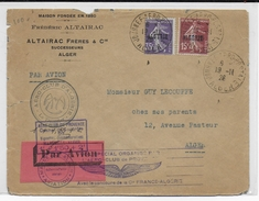 ALGERIE - 1926 - SEMEUSE SURCHARGEE Sur ENVELOPPE Par AVION De La JOURNEE AEROPOSTALE De ALGER - Algérie (1924-1962)