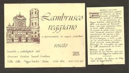 ITALIA - Etichetta Vino LAMBRUSCO REGGIANO Doc Cantine EMILIANE Di Villa Cella Rosato EMILIA - Chiesa S.Prospero Reggio - Vino Rosato