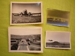 Lot De 3 Photos & 1 Négatif  N & B 1949 Avion Le Dakota Camp De Clermont Clichés 9 X 12 Cm Et 7X9 - Aviation