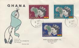 Enveloppe  FDC  1er  Jour   GHANA     Visite  Royale   1961 - Ghana (1957-...)