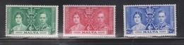 MALTA Scott # 188-90 MH - King George VI Coronation Set - Malte (...-1964)
