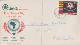 Enveloppe  FDC  1er  Jour   GHANA    Journée  De  La  Liberté  En  Afrique   1959 - Ghana (1957-...)