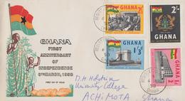 Enveloppe  FDC  1er  Jour   GHANA    1er  Anniversaire  De  L' Indépendance   1958 - Ghana (1957-...)