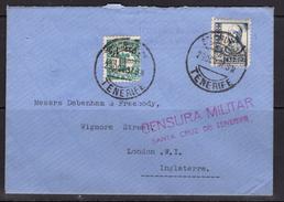 España 1937. Canarias. Carta De Tenerife A Londres. Censura. - Marcas De Censura Nacional
