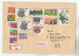 1972 REGISTERED CZECHOSLOVAKIA COVER Stamps SPACE EXPO WINTER OLYMPICS HERALDIC LION Sport Olympic Games  To Germany - Czechoslovakia