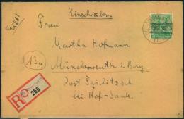 """1948, Einschreiben Mit Not-R-Zettel """"""""(20) Düsseldorf 17"""""""" Mit 84 Pfg. Bandaufdruck. Rs. Öffnungsmängel. - Bizone"""