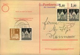 """Notstempel """"""""Georgsmarienhütte (Bz. Osnabrück) Auf Blanko Karte Mit Bautenfrankatur. - Bizone"""