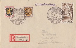 Fr. Zone R-Brief Mif Minr.2,3 Württemberg 13 SST Friedrichshafen 25.4.48 - Französische Zone