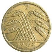 1924 - German Empire 5 Reichspfennig - (J) - KM# 39 - [ 3] 1918-1933 : Repubblica Di Weimar
