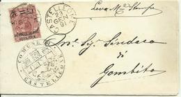 MP21-Stampe Con Valevole X Stampe 2 Cent. Su 50 - Comune Di Castelleone 23.1.1891 - Raro - 1878-00 Humberto I