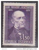 """Österreich 1954:  """"Karl Freiherr V.Rokitansky""""  Postfrisch  (siehe Foto/Scan) - 1945-.... 2. Republik"""