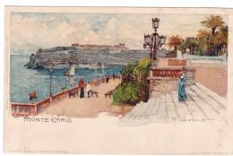 M. Wielandt Artist Signed Image Monte Carlo Promenade C1890s/1900s Vintage Postcard - Monte-Carlo