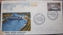 Enveloppe FDC 166 - 1956 - Bollene Ecluse - Barrage - YT 1078 - Electricité - France