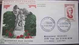 Enveloppe FDC 172 - 1956 - Montmorency - Rousseau - Philisophe - Ecrivain - YT 1084 - Covers & Documents
