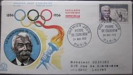 Enveloppe FDC 179 - 1956 - Pierre De Coubertin - YT 1088 - Jeux Olympiques - France