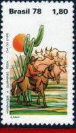 Ref. BR-1588 BRAZIL 1978 ANIMALS & FAUNA, BOOKS DAY,GUIMARAES ROSA,, CACTUS, HORSES, CATTLE, MI# 1682, MNH 1V Sc# 15