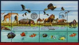 Ref. HU-V2008-3 HUNGARY 2008 ANIMALS & FAUNA, ZOO, NATURE, BIRDS, FISH, CAMELS,GIRFS,MONKEYS,ZEBRA S/S MINT MNH 2V - Raubkatzen