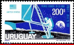 Ref. UR-C372 URUGUAY 1970 SPACE EXPLORATION, 1ST ANNIV. OF MANÂ'S 1ST, LANDING ON THE MOON, MI# 1174, MNH 1V Sc# C372