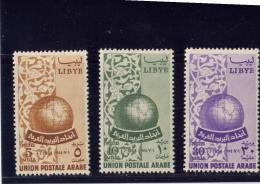 LIBYA, 1955, MH #147-49,  ARAB POSTAL UNION Founding  July 1, 1954 MH - Libye