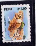 PERU, 1995,  USED #1109,   FAUNA: AMERICAN OWL   USED - Pérou