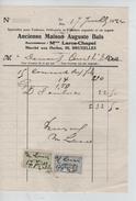 Facture Ancienne Maison Auguste Buls Marché Aux Herbes 95 Bruxelles En 1924 - 1900 – 1949