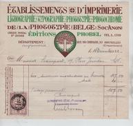 Facture Etablissement D'Imprimerie Editions Phobel Rue Ma Campagne BXL Cinquantenaire En 1922 PR4421 - 1900 – 1949