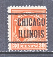 U.S. 420   (o)  Single Line Wml. Perf 12  1912-14 Issue - United States