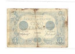 5 Francs Bleu Daté De 1915 - 1871-1952 Anciens Francs Circulés Au XXème