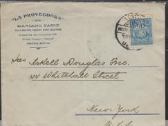 O) 1920 BOLIVIA, COAT OF ARMS - 22 CENTAVOS BLUE, COVER TO UNITED STATES, XF - Bolivia