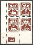 Bohemia & Moravia 1943,German Occupation 1.50K Sc O20,Mi20 Plate Block,VF MNH** - Occupation 1938-45