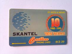 St. Kitts And Nevis Phonecard EC$20 15CSKA SNANTEL 10th Ann