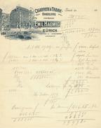 Suisse // Schweiz // Switzerland // Vieux Papiers // Ancienne Facture Emil Haemig Zurich - Suisse