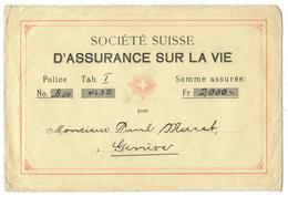 Suisse // Schweiz // Switzerland // Vieux Papiers // Seulement Lettre Pour Document Assurance Vie - Suisse