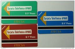 CUBA - Urmet - Set Of 3 - ETECSA - Tarjeta Telefonica - $1, $3 & $5 - Mint