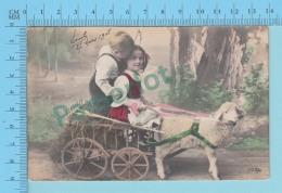 CPA  1908 - Carte Photo Enfants Dans Une Charette Tirés Par Un Mouton, Cover Bruxelle 1908 + Timbre, - Portraits