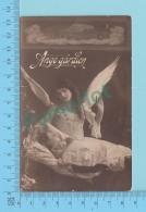 Religion - CPPA Vrai Photo, Ange Gardien Regardant Un Jeune Enfant Les Main Jointes Servi En 1914- 2 Scans - Enfants