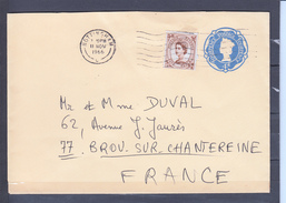 ENTIER  4d +  Timbre Five Pence Brun  Sur Lettre De NOTTINGHAM Le II NOV 1966   Pour 77 BROU SUR CHANTEREINE - Interi Postali