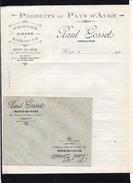 """1920 Env. Entête Facture Et Enveloppe Vierge De """"Paul Gosset """"Agriculteur / Pommes,Cidres,Eaux De Vie à Hotot En Auge 14 - Francia"""