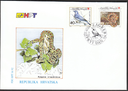 Croatia Zagreb 1992 / Protecting Nature / Animals / Snake Spotted Red Cloth / Bird Rocky Mountains Blue Rock Thrush /FDC - Otros