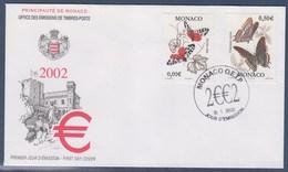 = Série Courante Nature Papillons Charaxes Jasius Et Arctia Caja Enveloppe 1er Jour Monaco N°2323 & 2325 Le 01.I.2002 - FDC