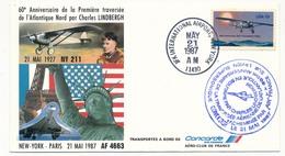 Enveloppe Commémorative -  60eme Anniversaire Traversée De Lindberg - VOL SPECIAL CONCORDE 21/05/1987 - United States