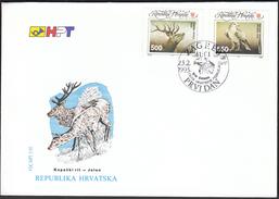 Croatia Zagreb 1993 / Fauna / Animals / Kopacki Rit / Deer, White-tailed Eagle / FDC - Otros